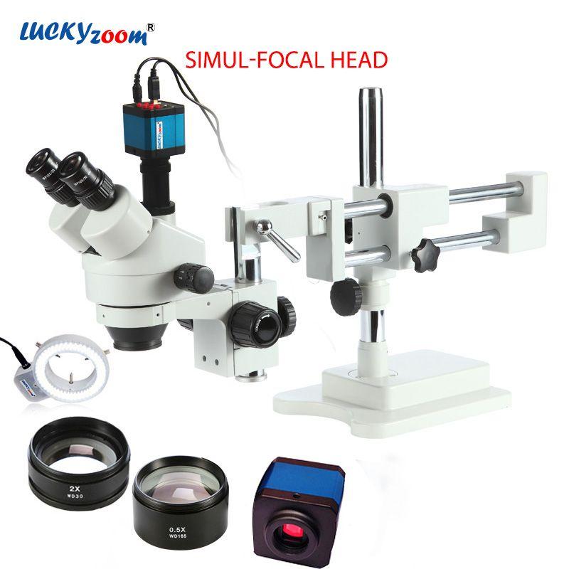Luckyzoom 3.5X-90X Simul-Brenn Doppel Boom Stand Trinocular Stereo Zoom Mikroskop 14MP HDMI Kamera 144 stück Ring licht Microscopio