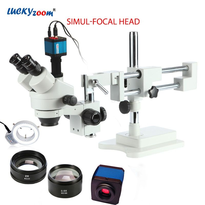 Luckyzoom 3.5X-90X Simul-Focal Double Boom Stand Trinocular Stereo Zoom Microscope 14MP HDMI Camera 144pc Ring Light Microscopio
