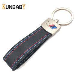KUNBABY Métal Porte-clés Pour la Voiture Porte-clés En Cuir De Voiture Porte-clés Porte-clés pour BMW M LOGO Sport E46 M5 X1 X3 E46 E39 Clé accessoires