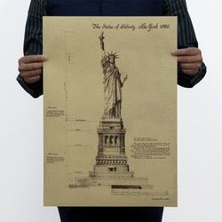 The Statue of Liberty USA Vintage Kraft Paper Classic Poster Home Wall Decoration  Art Magazines  Retro Posters and Prints