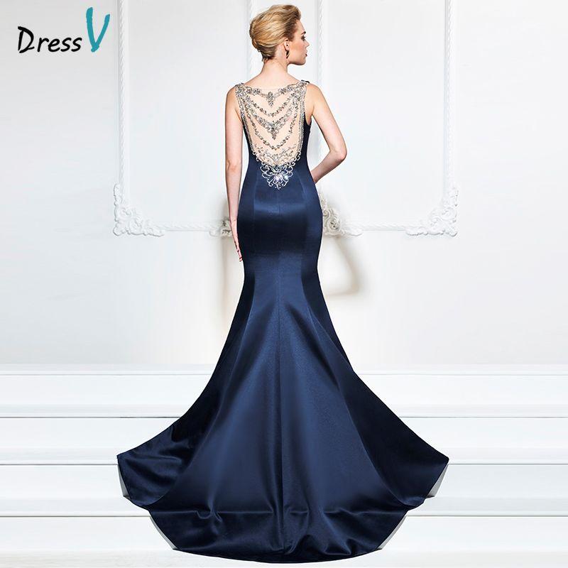 Dressv dark navy 2017 evening dress sexy sleeves mermaid sweep train beading wedding party formal dress trumpet evening dresses