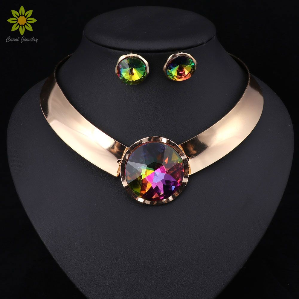 6Color Women Jewelry Sets Trendy Necklace Earrings Statement Necklace For Party Wedding Fashion 2017 Direct Selling