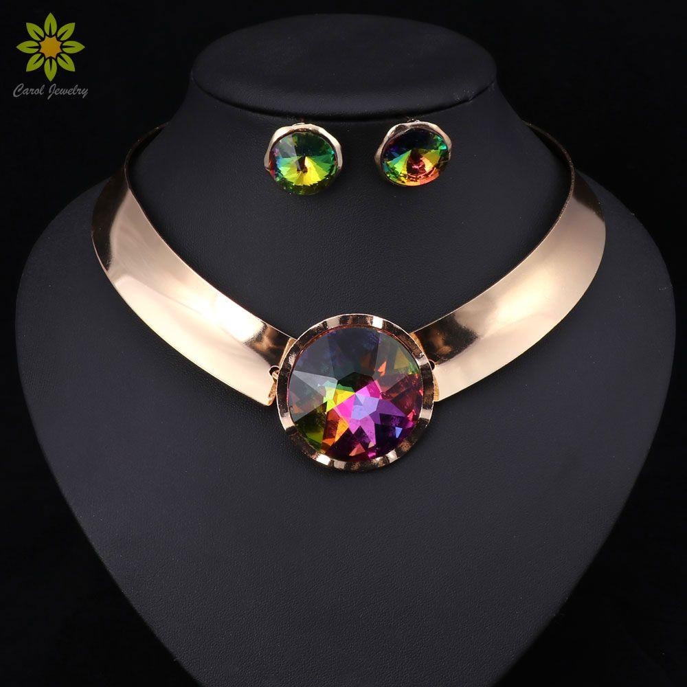 6 couleur femmes bijoux ensembles à la mode collier boucles d'oreilles déclaration collier pour fête de mariage mode 2017 vente directe
