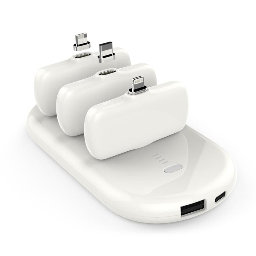 5000mAh Portable Power Bank charging for phone poverbank External Battery BankCharger Station And 3 Charging Pack
