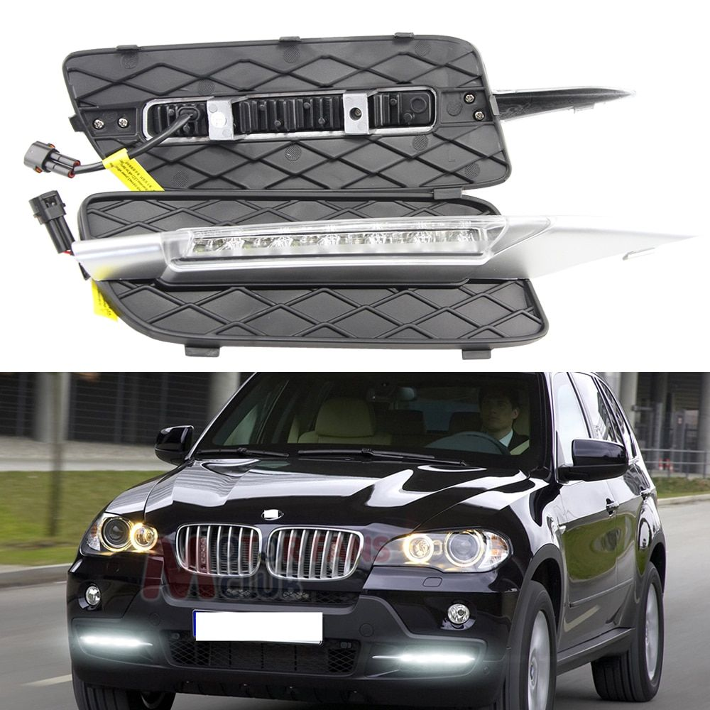 6000K Xenon White 18W High Power LED Daytime Running Light DRL Lamps For 2007-2010 Pre-LCI BMW E70 X5 with Blink Signal lights