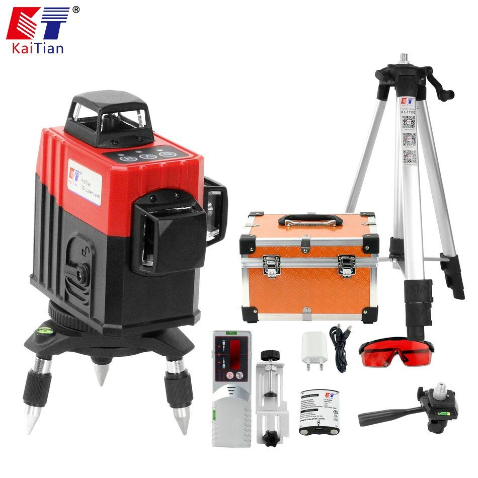 Kaitian 3D Laser Level 360 Nivel Laser 12 Lines Lazer Level 3D Tripod 5/8 Construction Tool with Receiver Bracket Building Tools