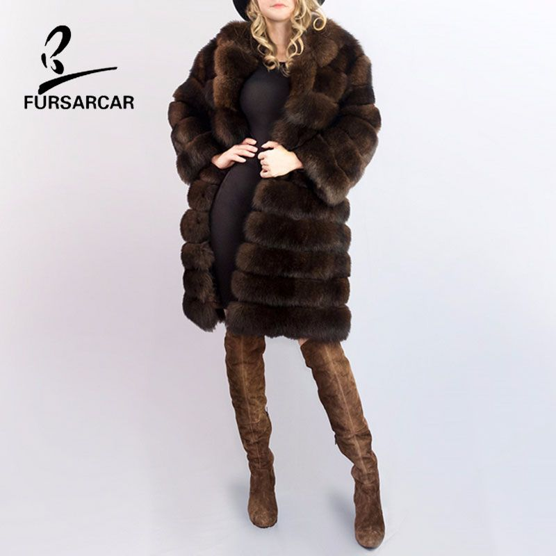 FURSARCAR Super Dicke frauen Winter Fox Pelzmantel Echten Fuchspelz großen Pelzkragen Volle Pelt Gestreiften Können Abnehmbare Volle Lange Mäntel