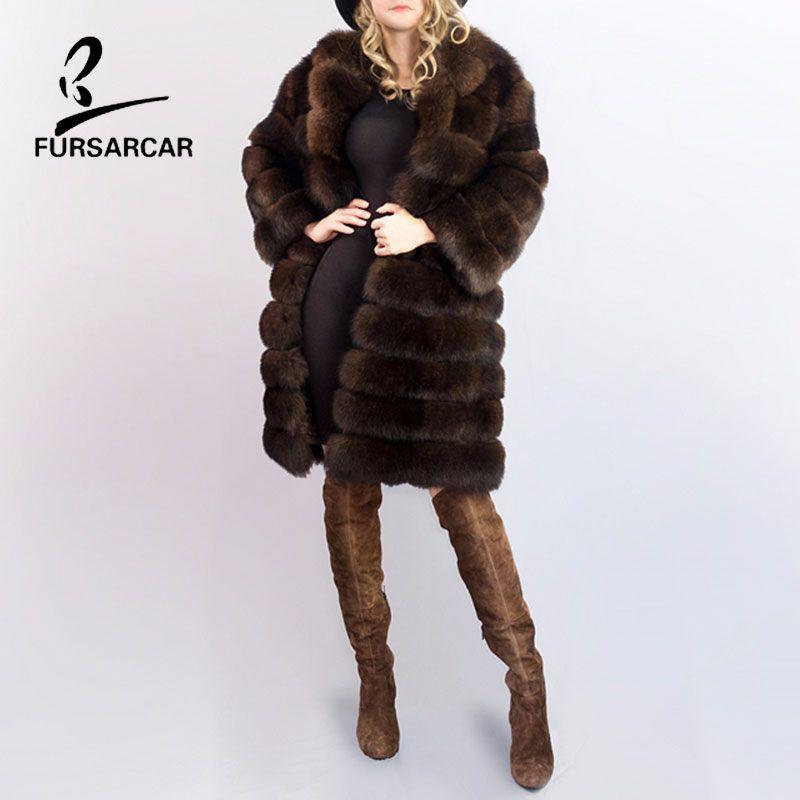 FURSARCAR Super Thick Women's Winter Fox Fur Coat Real Fox Fur Big Fur Collar Full Pelt Striped Can Detachable Full Long Coats
