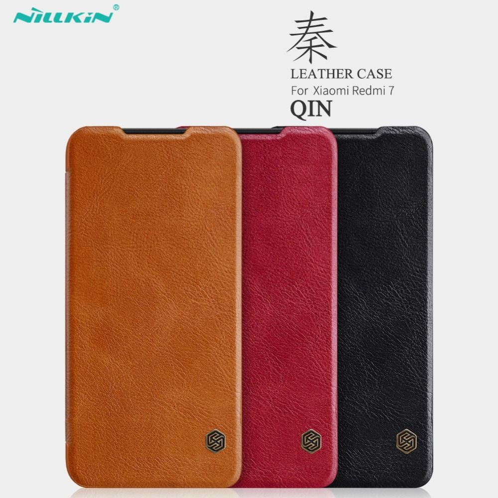 NILLKIN QIN Series for Xiaomi Redmi 7 Case Cover 6.26'' Vintage Flip Cover Wallet PU Leather PC Back Cover For Xiaomi Redmi 7