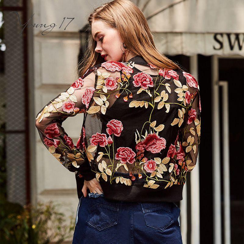 Young17 fall jacket streetwear short zipper floral print embroidery thin long sleeve beauty fashion girls fall basic jackets