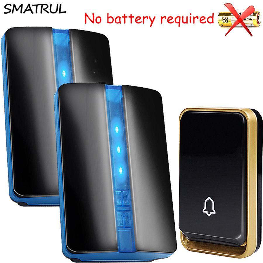 SMATRUL <font><b>self</b></font> powered Waterproof Wireless DoorBell no battery EU plug home Door Bell 1 2 button 1 2 Receiver 110 220V LED light