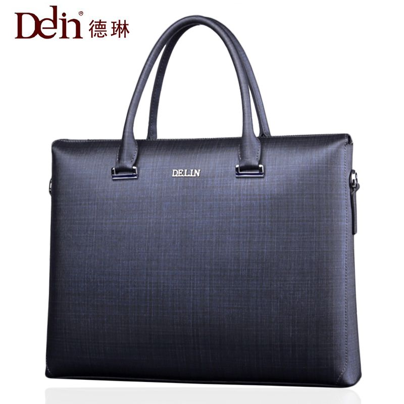 2018 DeLin Boutique men's business package cross section square Genuine Leather men 15.6 inch commercial laptop