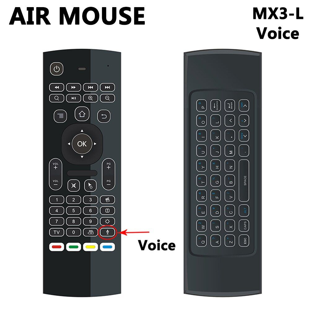 MX3 MX3-L Backlit Air Mouse T3 Remote Control with Voice 2.4G RF Wireless Keyboard For tx3 mini A95X X96 H96 pro Android TV Box