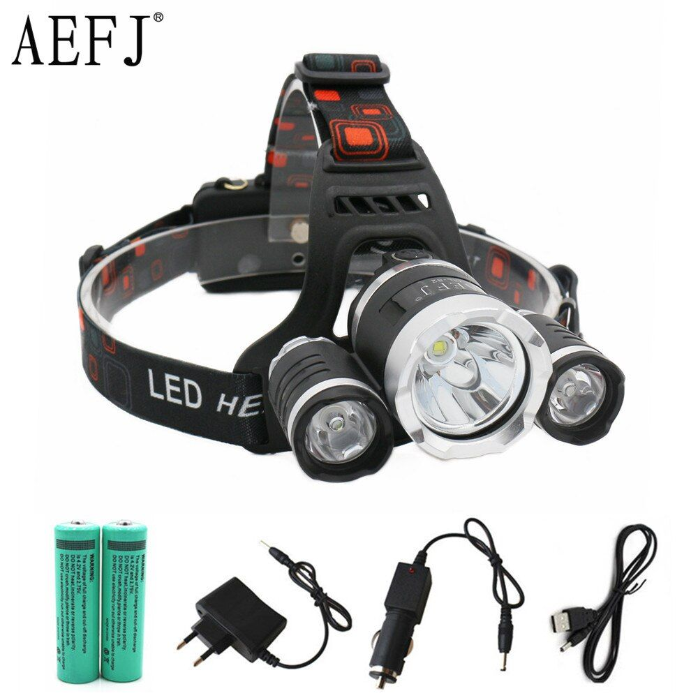 13000LM LED T6+2R5 Headlamp Headlight <font><b>Head</b></font> Lamp lighting Light Flashlight Torch Lantern Fishing+18650 battery+Car USB AC Charger