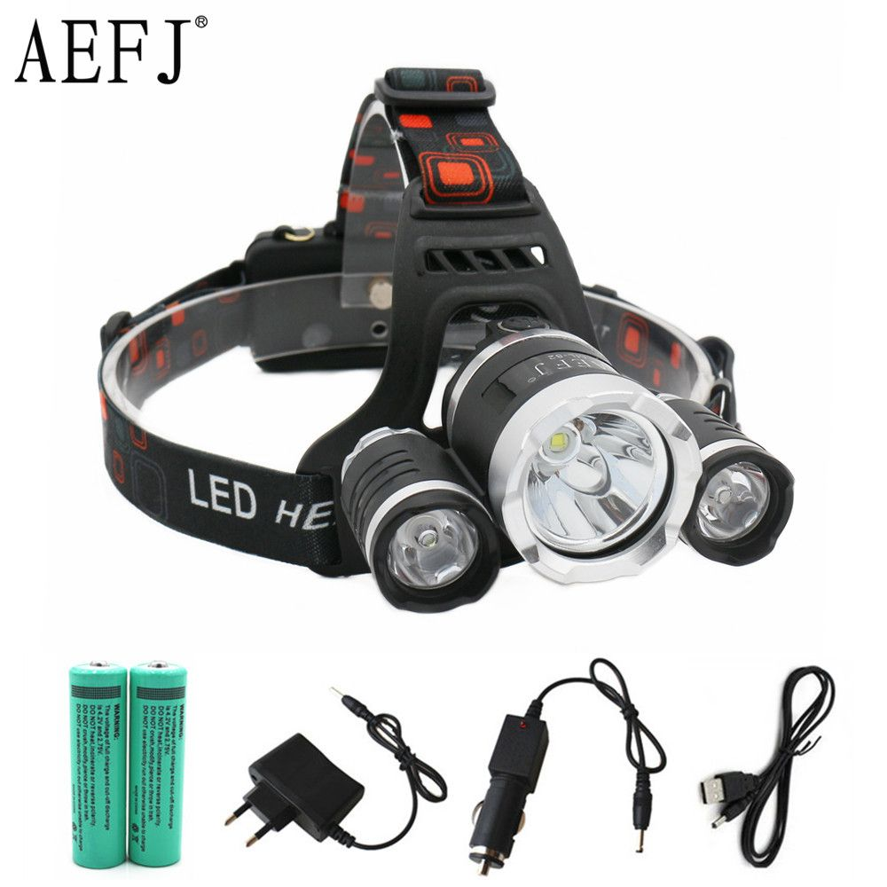 13000LM LED T6+2R5 <font><b>Headlamp</b></font> Headlight Head Lamp lighting Light Flashlight Torch Lantern Fishing+18650 battery+Car USB AC Charger