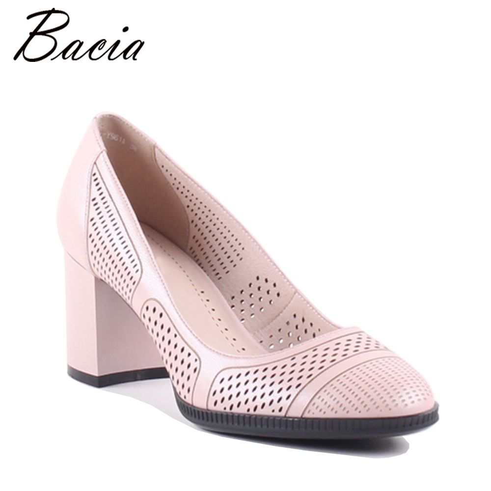 Bacia Women Thick heel Genuine Leather Shoes Ladies High Heels Black Round Toe Pumps High quality Classic Sheepskin Shoes MXA002