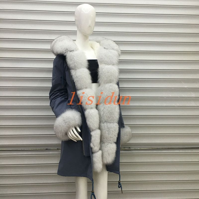 2018 fox fur coat, coat, dress, women's clothing, long hair liner, Parker, and otter rabbit fur new fur coat