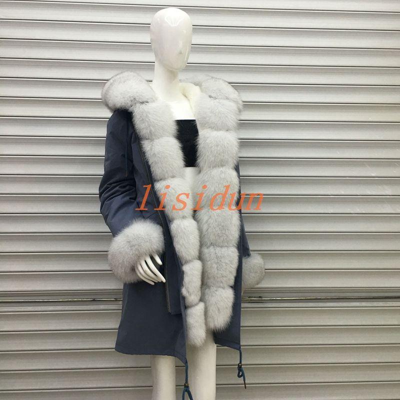 2018 fuchs pelz mantel, mantel, kleid, frauen kleidung, lange haar liner, Parker, und otter kaninchen pelz neue pelz mantel