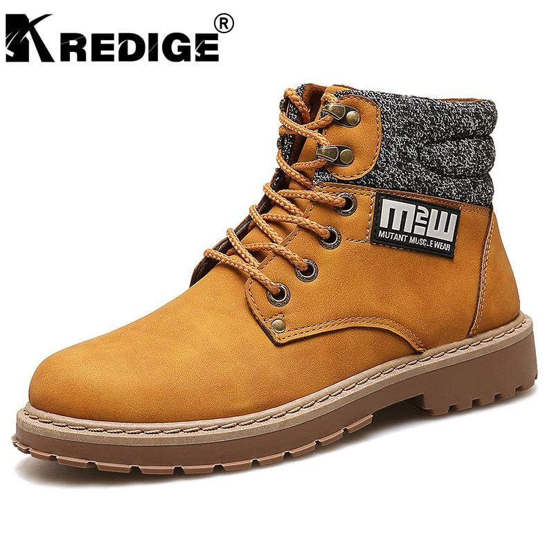 KREDIGE New Arrival Height Increasing Mens Martin Boots Non-Slip Soles Trend PU Hight Shoes Hard-Wearing Men Boot Big Size 39-44