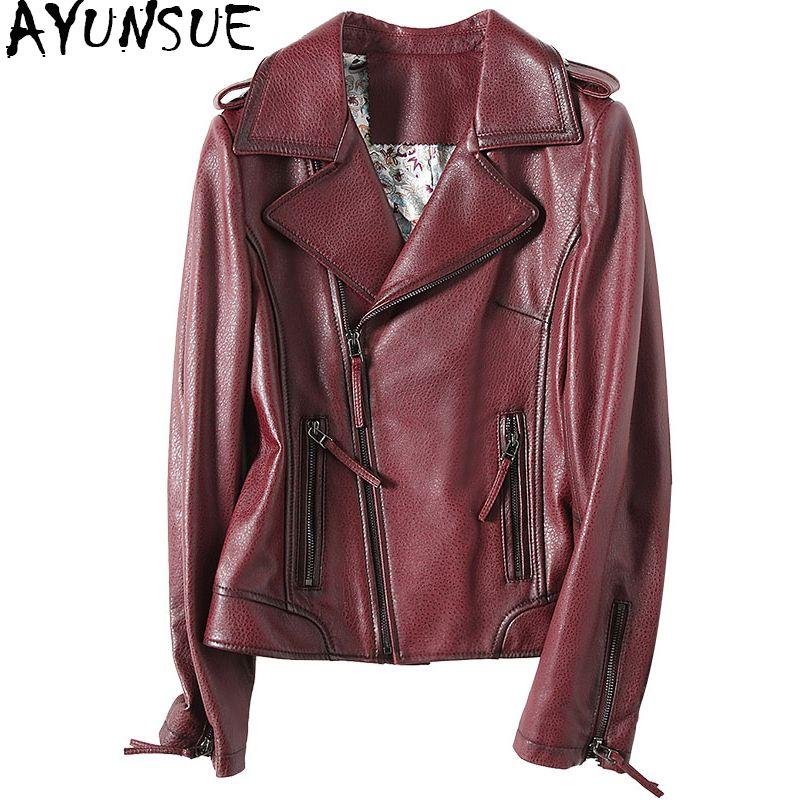 AYUNSUE 2018 Fashion Spring Women Genuine Leather Jacket Sheepskin Coats Black Turn Down Collar Motorcycle Jackets 57055 WYQ1180