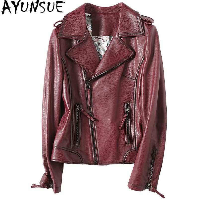 AYUNSUE 2018 Fashion Spring Women Genuine Leather Jacket Sheepskin Coats Black Turn Down Collar Motorcycle Jackets 57055 WYQ1180