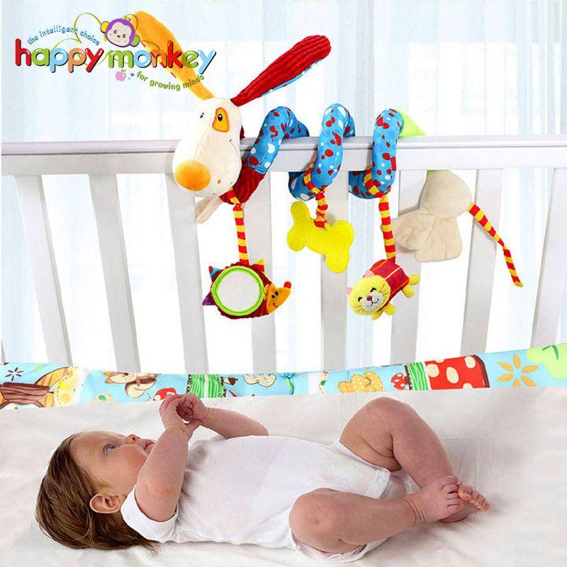 Bébé jouets pour enfants 0-12 mois en peluche hochet berceau spirale suspendus Mobile infantile nouveau-né poussette lit Animal cadeau heureux singe