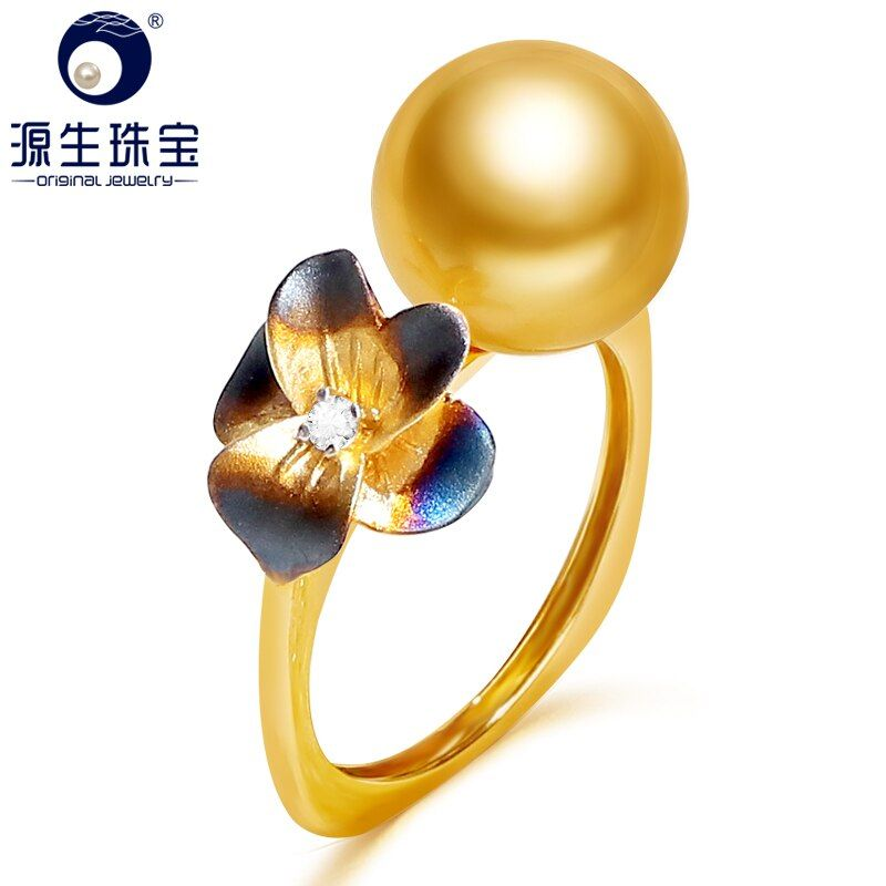 [YS] 14K Real Gold Engagement Ring 10-11mm Natural South Sea Pearl Ring For Women