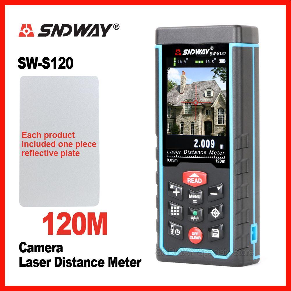 SNDWAY Caméra D'origine Numérique Laser Distance Meter Plage Finder Télémètre SW-S80 SW-S120 Bande Trena Règle Angle Bulid Outil