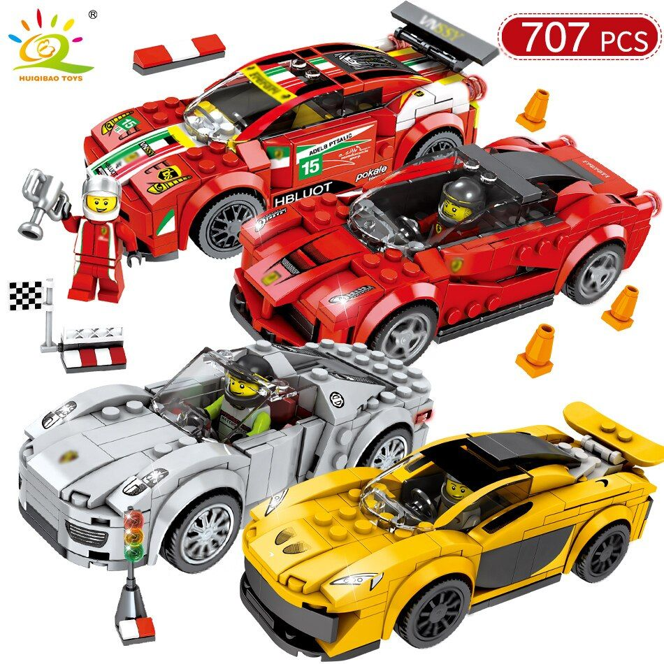 707PCS Racing Car Speed Champions DIY Building Blocks Compatible Legoed Technic City Racer Figures Sport Cars Brick Toys For Kid