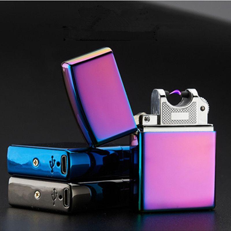 USB Briquet Électronique Cigarette Accessoires Briquet Torche Pulsé Arc Léger Coupe-Vent Thunder Métal Plasma Allume-cigare