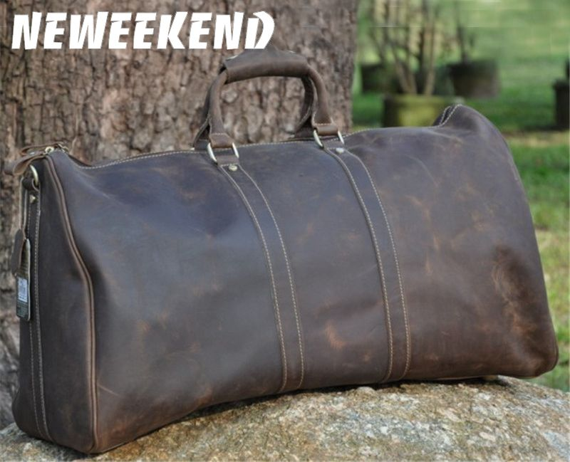 NEWEEKEND Retro Casual Genuine Leather Cowhide Crazy Horse Big Travel Duffel Zipper Crossbody Luggage Bag Handbag for Man 9551
