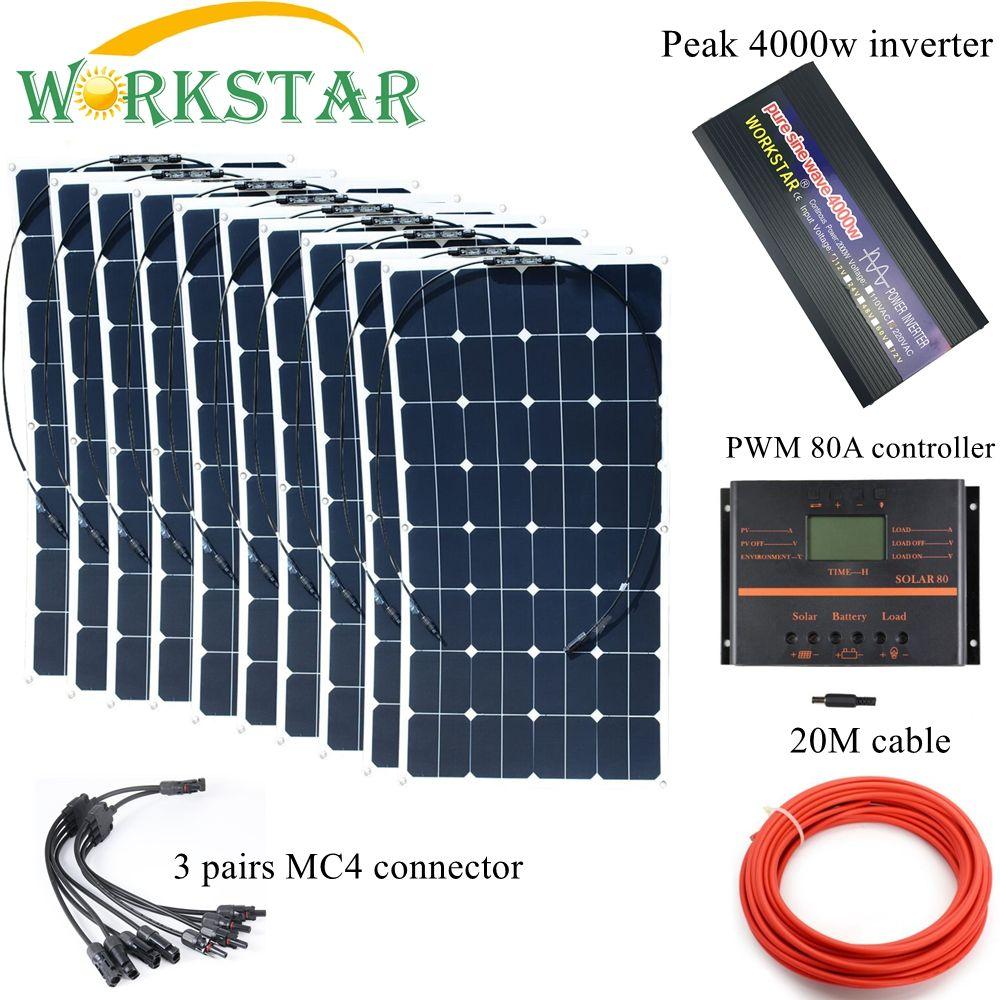 10*100 W Sunpower Flexible Solar Panels mit 80A Controller und 4000 watt Inverter Komplette 100 0 watt Off grid solar System Kit