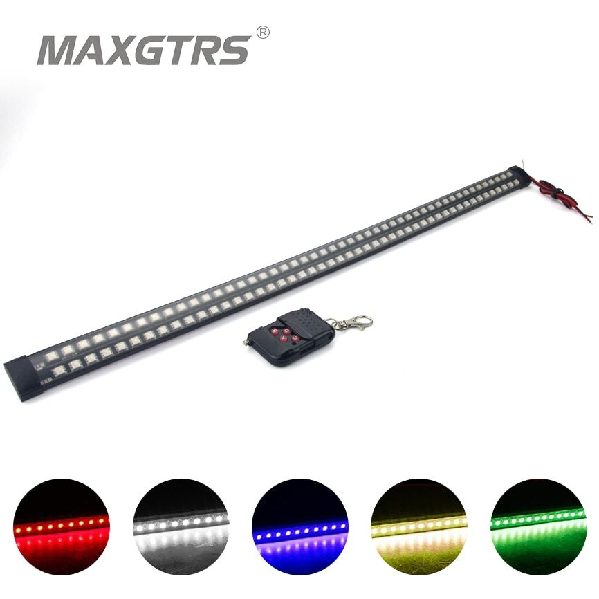 Double Row 20 Modes Infrared Remote Control Change Color RGB 56CM 96LED Car LED Flexible Knight Rider Lightsbar Light Waterproof