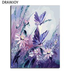 DRAWJOY Безрамные Картины живопись по номерам разрисованный вручную на холсте DIY картина маслом по номерам 40*50 см Бабочка G406