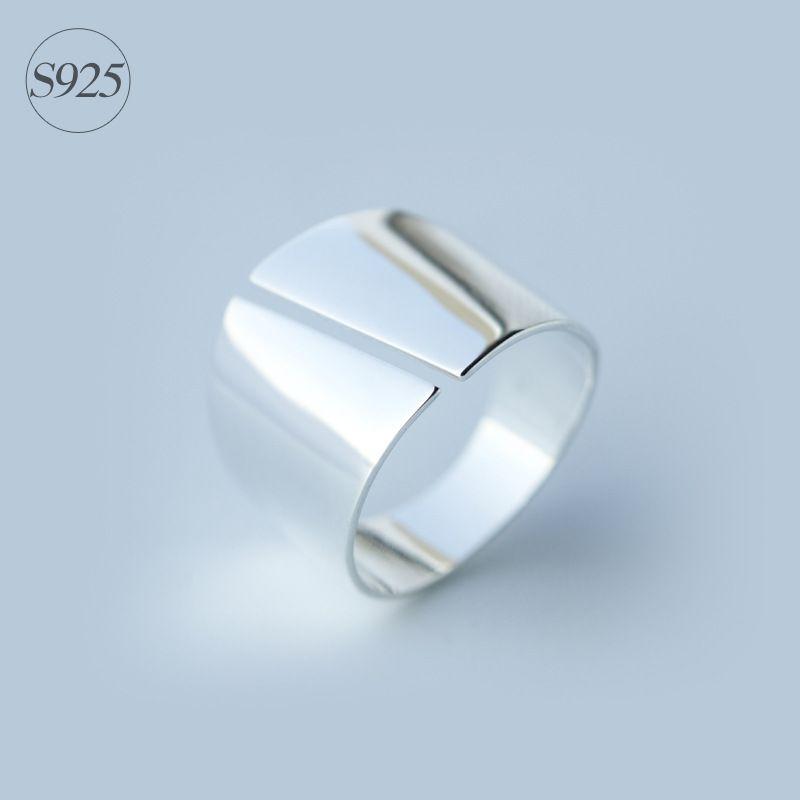 Дамская Настоящее. 925 стерлингового серебра полированный Рокер Кольцо шире 15 мм изделия долго кольцо удобные GTLJ811