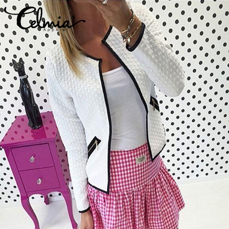 4XL Celmia 2018 Long Sleeve Women Smart Business OL Office Suit Jacket Feminino Outwear Autumn Winter Check Short Coat Plus Size