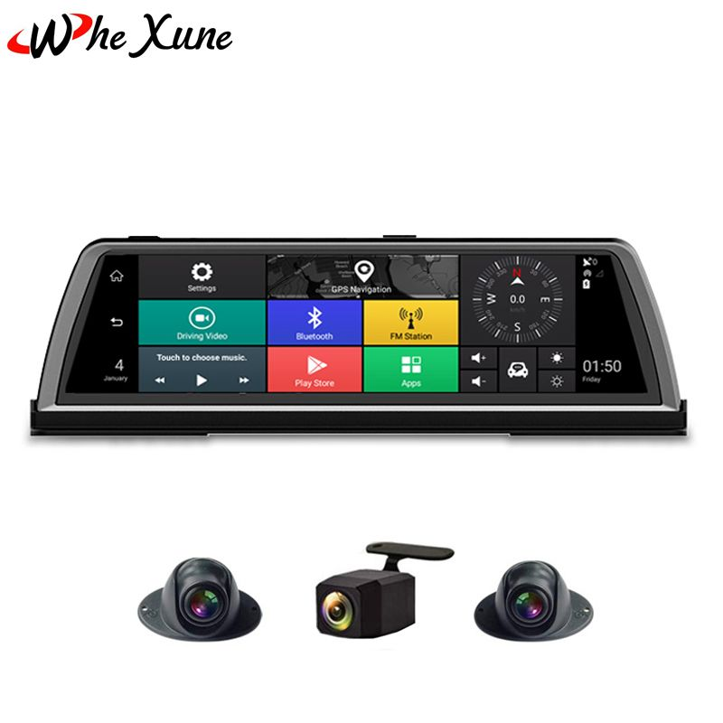 WHEXUNE 2019 Neue 10 FHD 1080 P 4G 4 Kanal ADAS Android Auto DVR Dashcam Center konsole spiegel GPS WiFi Hinten Objektiv Video Recorder