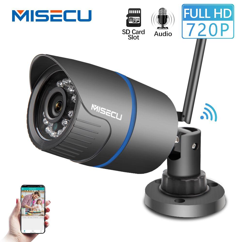 MISECU H.264 + Wifi caméra Audio construit SD carte 2.8mm Wifi 1280*720 P P2P ONVIF Sans Fil email alerte vision nocturne IR Extérieur CCTV