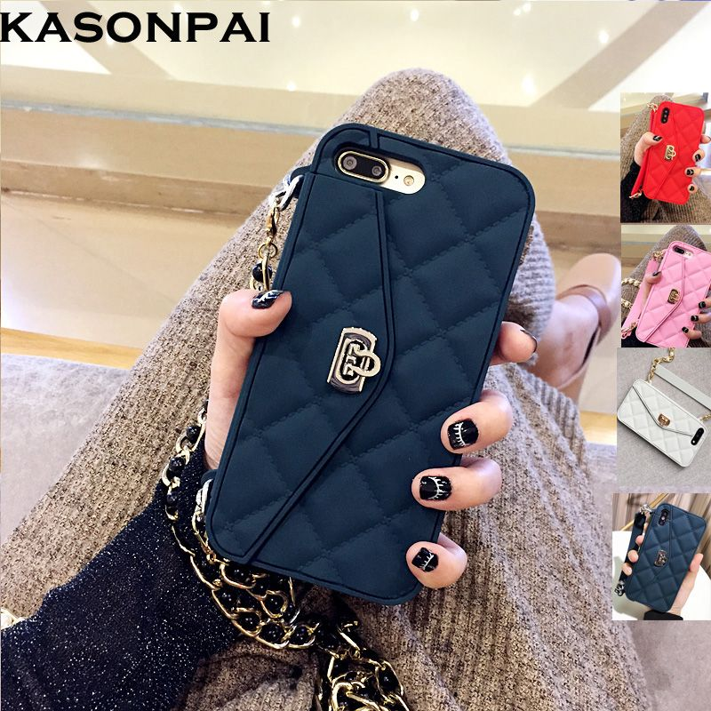 KASONPAI Luxury Fashion Soft Silicone Wallet Case For iPhone X 8 7 6S 6 Plus Card Slot <font><b>Handbag</b></font> Purse Phone Cover With Long Chain