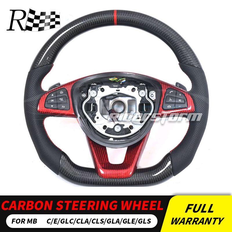 W205 Carbon lenkrad Für Mercedes W205 w213 w117 GLA GLC GLE GLS CLS klasse Carbon Fiber Lenkrad carbon autoparts