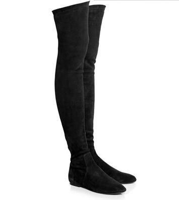 Botas Mujer Winter Stretch Suede Women Tall Boots Comfort Flat Bottom Over The Knee Boots Slip-On Thigh High Boots