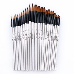 12/24 Pcs Nylon Cheveux Manche En Bois Peinture Aquarelle Brosse Stylo Fixés pour L'apprentissage Acrylique Huile Art Peinture brosses Fournitures