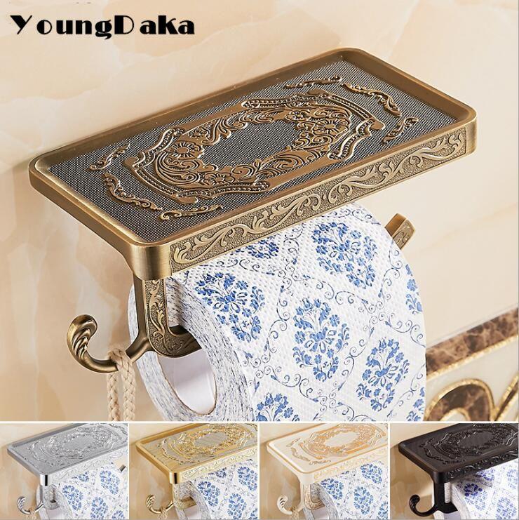 Bathroom Chrome Carving Design Toilet Paper Rack wiht Phone Shelf/Roll Paper Towel Holder And Hook/Bathroom Hardware Storage