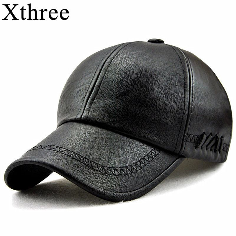 Xthree New fashion high quality spring winter leather baseball cap for men casual moto snapback hat men's hat Cap wholesale