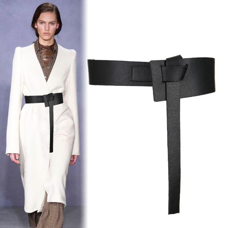 Nouveau Design femmes ceinture nouée large long PU cuir mode femme cummerbunds robe décorer marron cuir arc boucle cadeaux
