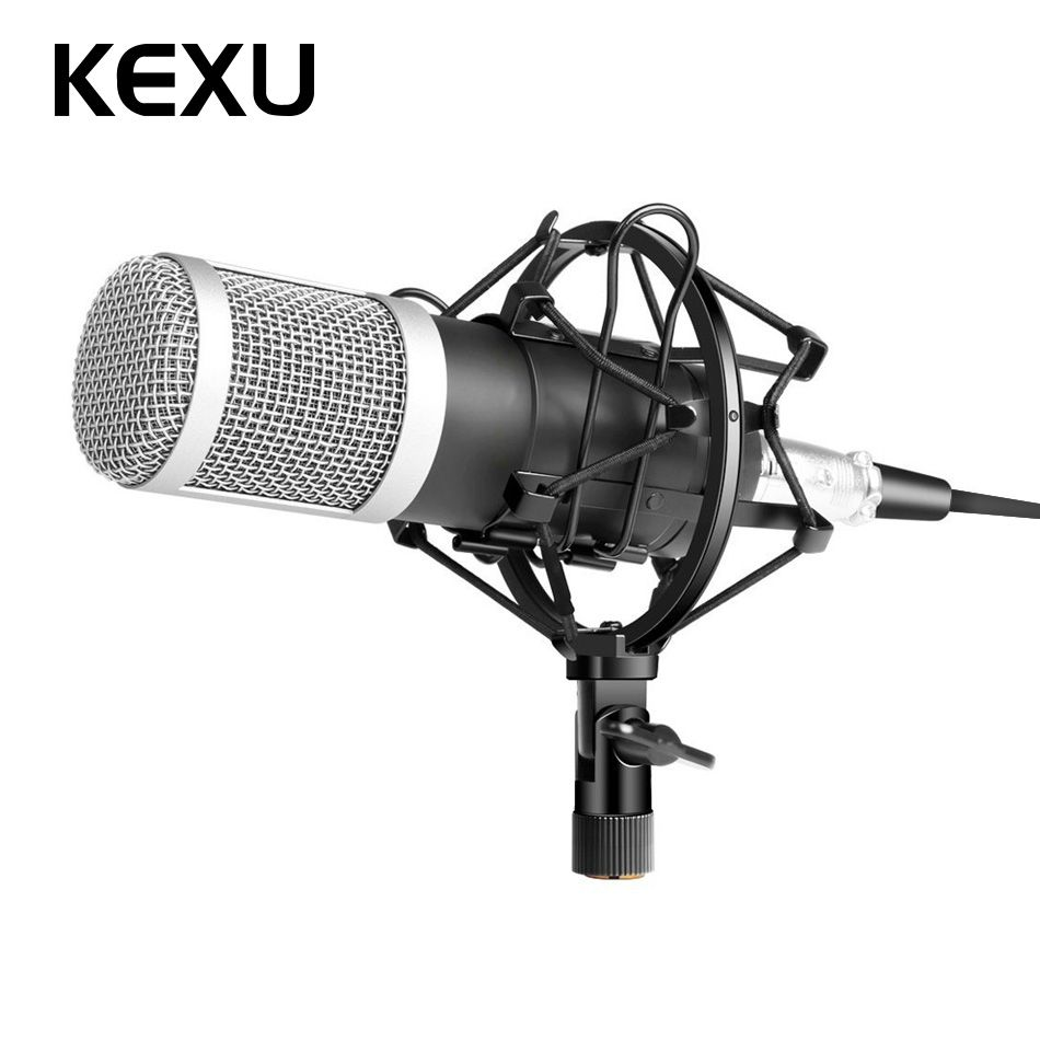 KEXU BM-800 Professional Microphone Condenser Microphone for Video Recording Radio Studio Microphone for Computer+Shock Mount