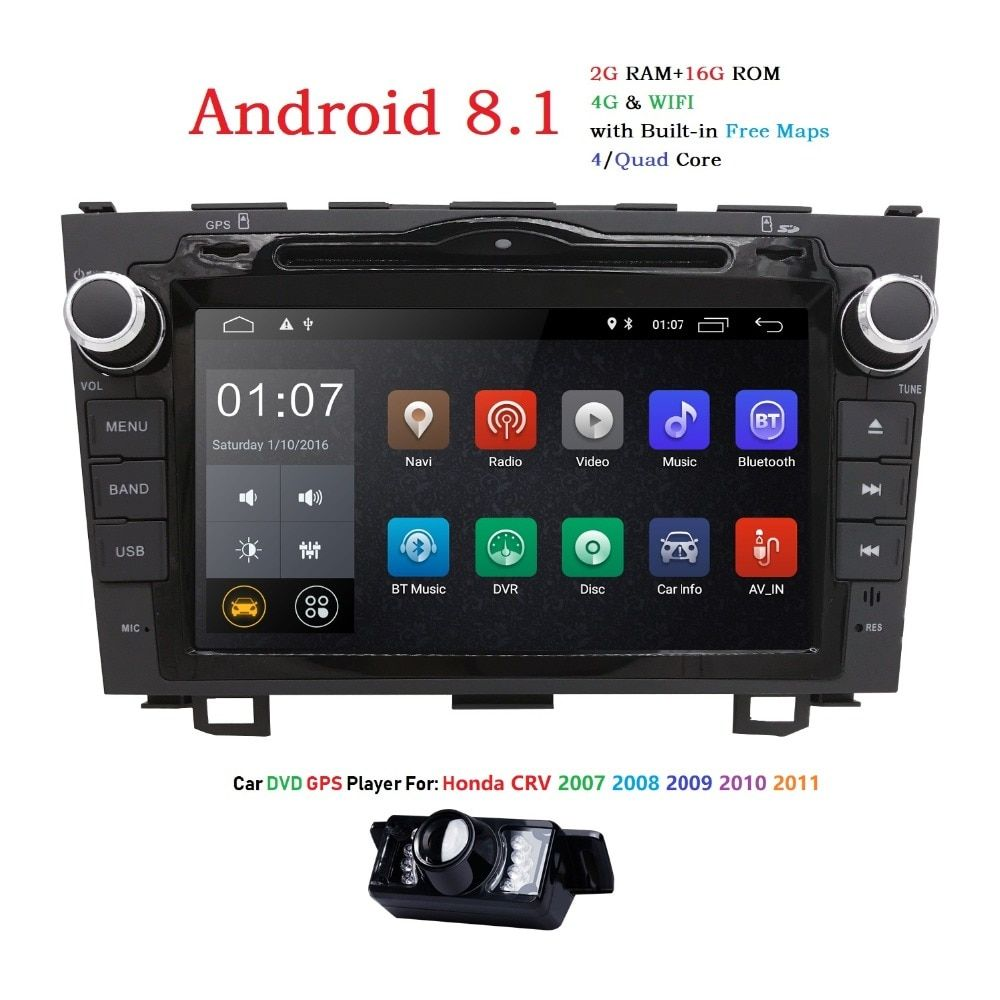 HD Quad Core A7 4*1.2GHz 1024X600 Android 8.1 Car DVD Player For Honda CRV CR-V 2006-2011 4G WiFi GPS Navigation Stereo Video SD