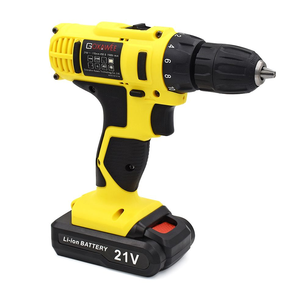GOXAWEE 12V Electric Drill Two Speed Lithium Battery Rechargeable <font><b>Cordless</b></font> Drill Multi-function Electric <font><b>Cordless</b></font> Screwdriver
