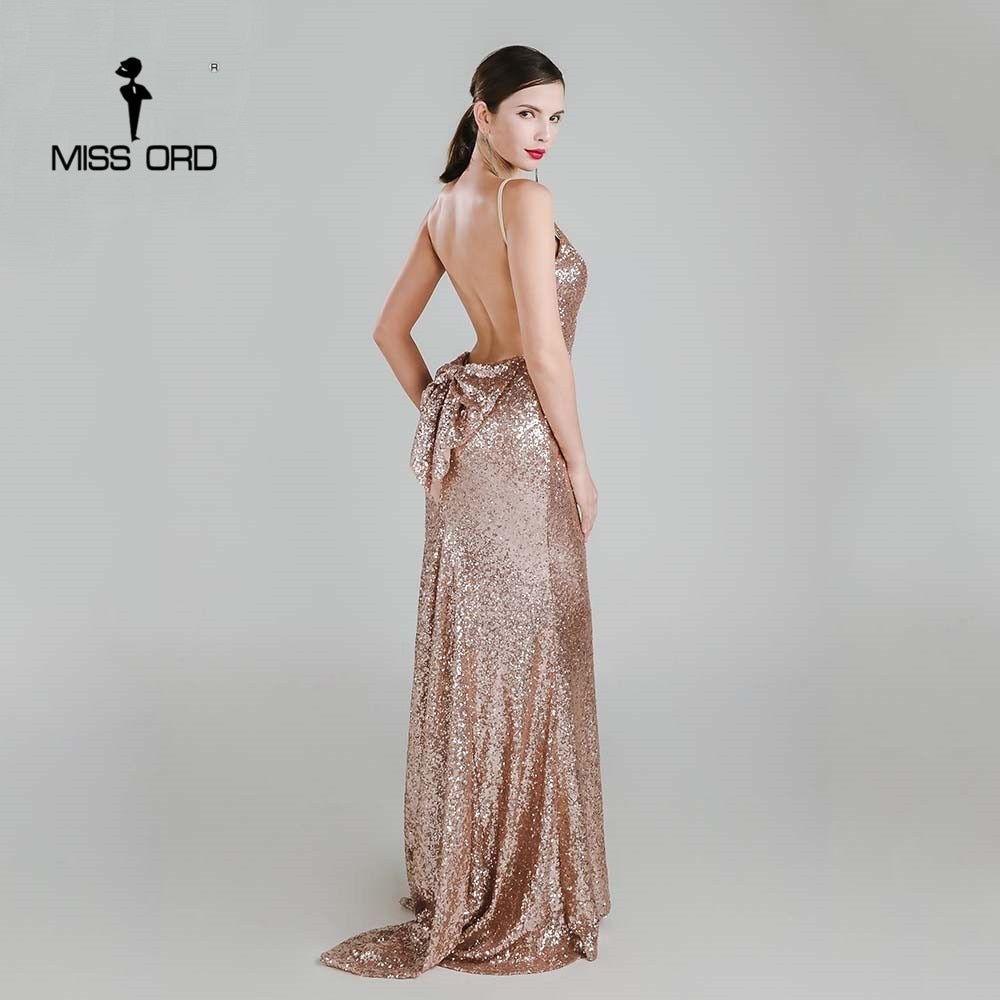 Missord 2018 Sexy halter Bow V-neck party dress sequin maxi dress FT3995