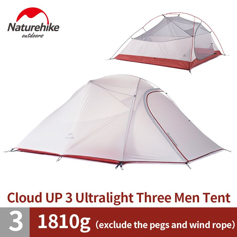 Naturehike Outdoor Cloud Up 3 Person Camping Tent 20D Nylon Waterproof Ultralight Large Family Camp Tents 2018 NEW Updated